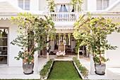 Symmetrical courtyard garden of an exotic house