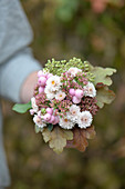Small autumn bouquet of chrysanthemums, sedum and bog myrtle berries in collar of leavees