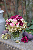 Autumn bouquet of chrysanthemums, roses and hydrangea flowers