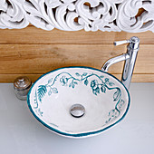 Countertop porcelain sink painted with floral design