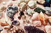 Different stones, gemstones, natural stones, crystals