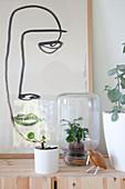 One Line Drawing und Zimmerpflanzen im Übertopf und Einmachglas