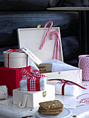 Christmas presents wrapped in red and white