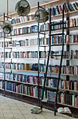 Ceiling-high bookshelves with sliding shelf ladder