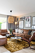 Brown leather sofa set in retro-style living room