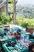 Gedeckter Tisch für ein herbstliches Braai (Südafrika)