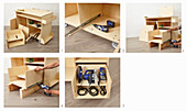 Instructions for building a workshop trolley (attaching a drawer)
