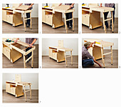 Instructions for building a workshop trolley (attaching worksurface)