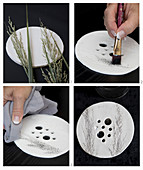 Instructions for making perforated vase lids with embossed grasses motif from modelling clay