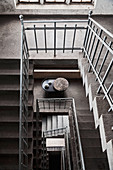View down through stairwell in old industrial building