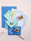 Hand-printed stationary in blue and green