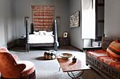 Oriental bedroom in grey and orange