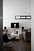 Modern living room in black, white and brown
