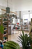 Open-plan kitchen in artist's apartment