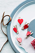 Decorative clips with a heart motif