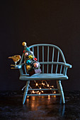 Christmas tree on chair