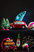 Retro-style Christmas decorations on shelf