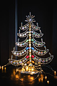 Christmas tree made from glass beads with fairy lights