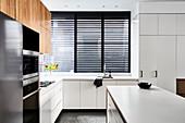 Clean lines in modern, minimalist kitchen