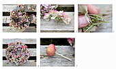 Tying a wreath of hydrangeas and apples