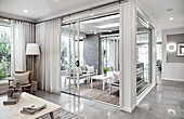 Recessed conservatory in modern house in shades of grey and white