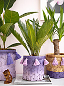 Houseplants in raffia pots painted purple with tassels