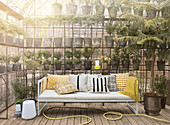 White sofa with yellow tones
