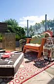 Orange deckchair on comfortable terrace