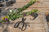Freshly tied herbal smudge sticks