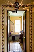 Washstand and bathtub in Oriental bathroom