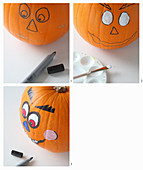 Handcrafted Halloween decorations: pumpkins with amusing faces