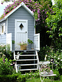 Old chair in front of stilt house with rambling rose 'Veilchenblsu' climbing over roof