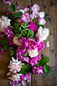 Pinkfarbene und weiße Rosen auf Holztisch