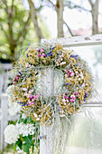 Dried wreath of flowers and grass