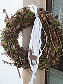 Wreath of larch and fir cones