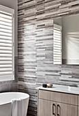 Strip tiles in bathroom