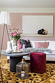 Range of textures in glamorous, feminine living room