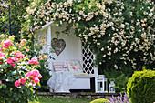 Philosophenbank umgeben von Rosen im Hanggarten