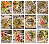 Instructions for making a moss wreath with viburnum berries and wood