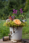 Colourful bouquet with roses, lady's mantle, clematis, phlox and ornamental grass in enamel bucket