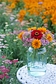 Bouquet of yarrow, zinnias and rudbeckia