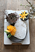 Paper flowers and modelling clay with botanical imprints in flan tin