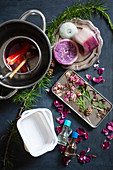 Materials for making scented wax with dried flowers