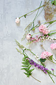 Flowers for wreath as a tableau