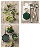 Instructions for making flower arrangements in vintage ladles