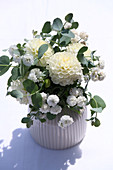 White arrangement with dahlias and eucalyptus