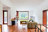 Designer sofa set and sideboard in living room