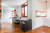 Custom furniture in minimalist study