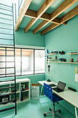 Teenager's bedroom with turquoise walls and ladder leading to sleeping platform