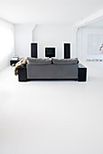 Grey sofa in minimalist living room with white floor